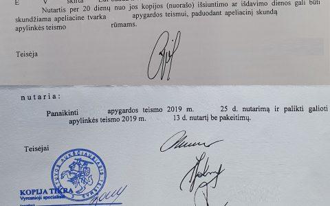 Teisių atėmimas 15-kai mėnesių ir 950 Eur bauda panaikinti, kadangi Lietuvos Aukščiausiajame Teisme laimėta byla, kurioje pripažinta, kad asmuo transporto priemonės neblaivus nevairavo