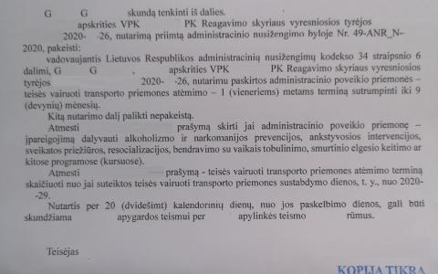 Teisių atėmimo terminas (už neblaivumą) sutrumpintas nuo 12 iki 9 mėn.