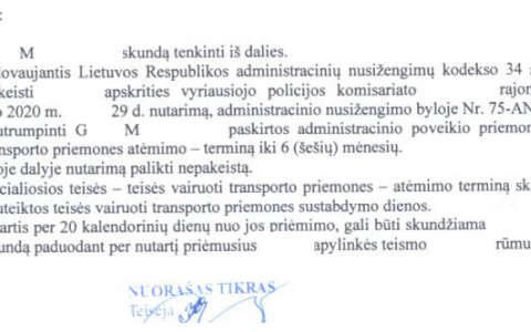 Teisių atėmimo terminas (už neblaivumą) sutrumpintas nuo 12 iki 6 mėn.